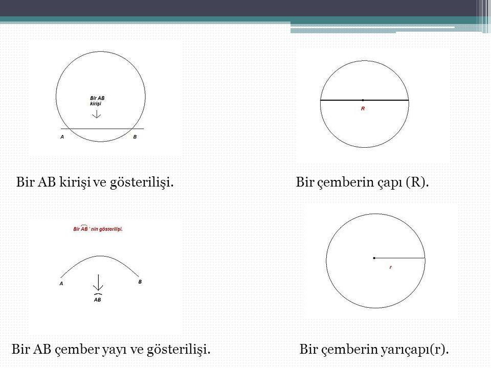 Bir AB kirişi ve gösterilişi. Bir çemberin çapı (R).