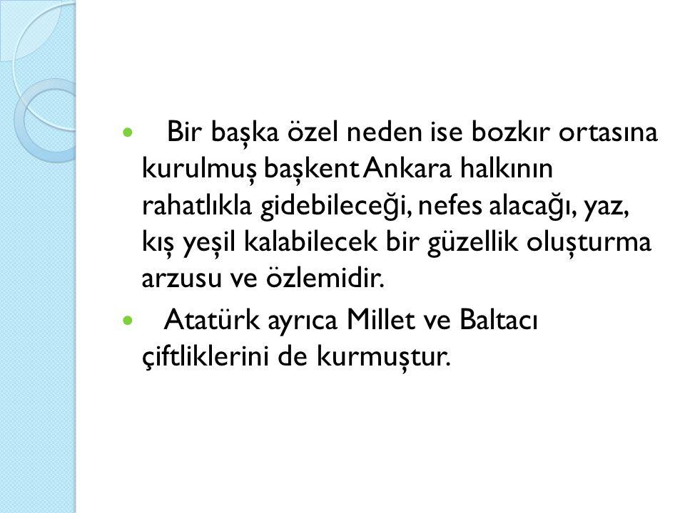 Bir başka özel neden ise bozkır ortasına kurulmuş başkent Ankara halkının rahatlıkla gidebileceği, nefes alacağı, yaz, kış yeşil kalabilecek bir güzellik oluşturma arzusu ve özlemidir.