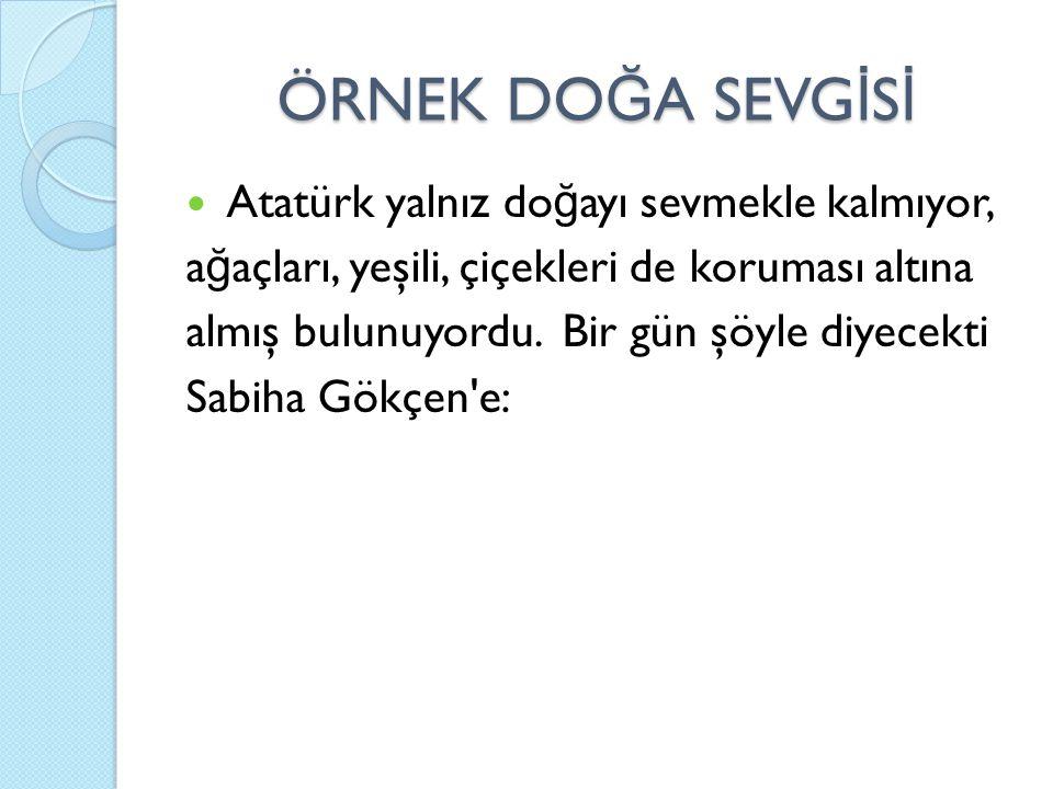 ÖRNEK DOĞA SEVGİSİ Atatürk yalnız doğayı sevmekle kalmıyor,