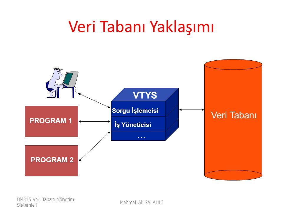 Veri Tabanı Yaklaşımı VTYS Veri Tabanı … PROGRAM 1 PROGRAM 2