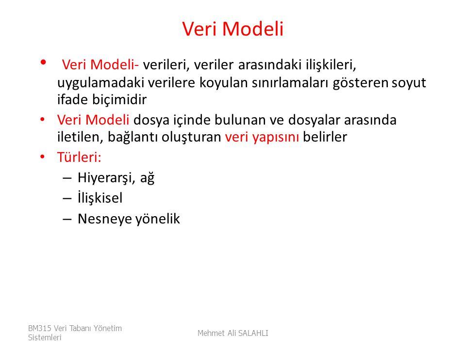 Veri Modeli Veri Modeli- verileri, veriler arasındaki ilişkileri, uygulamadaki verilere koyulan sınırlamaları gösteren soyut ifade biçimidir.