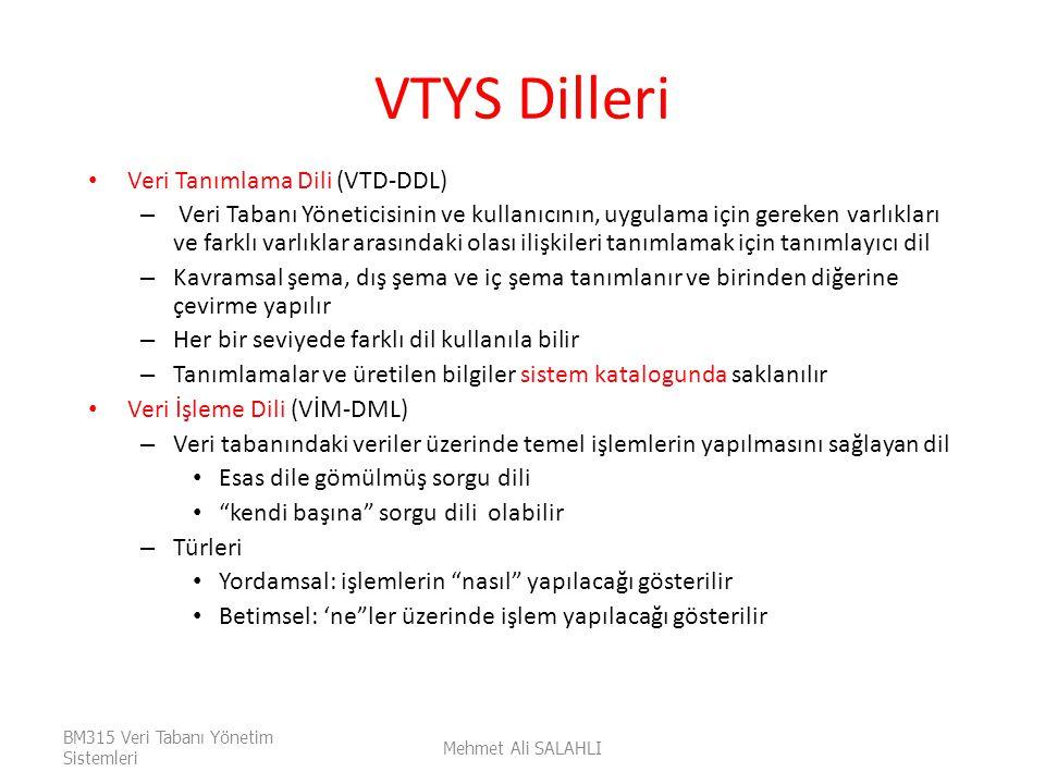 VTYS Dilleri Veri Tanımlama Dili (VTD-DDL)