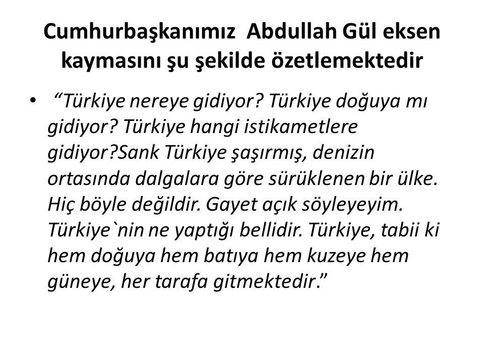 Cumhurbaşkanımız Abdullah Gül eksen kaymasını şu şekilde özetlemektedir