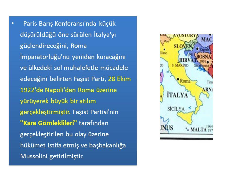 Paris Barış Konferansı nda küçük düşürüldüğü öne sürülen İtalya yı güçlendireceğini, Roma İmparatorluğu nu yeniden kuracağını ve ülkedeki sol muhalefetle mücadele edeceğini belirten Faşist Parti, 28 Ekim 1922 de Napoli den Roma üzerine yürüyerek büyük bir atılım gerçekleştirmiştir.