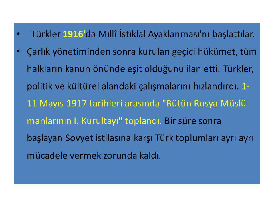 Türkler 1916 da Millî İstiklal Ayaklanması nı başlattılar.