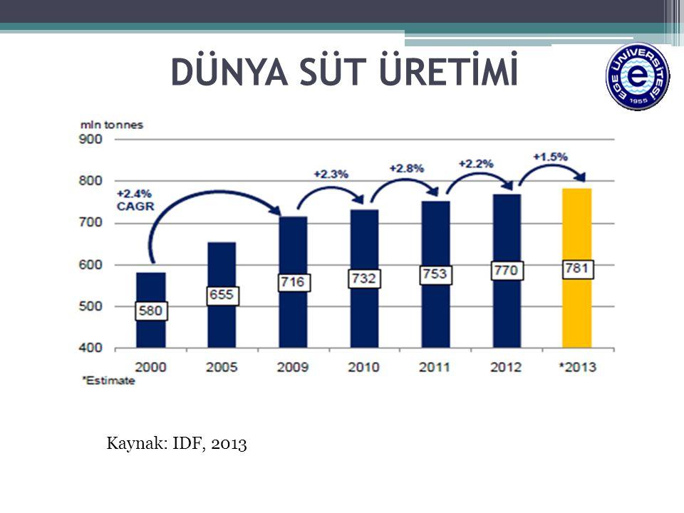 DÜNYA SÜT ÜRETİMİ Kaynak: IDF, 2013
