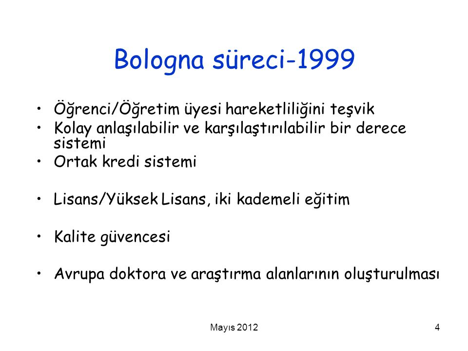 Bologna süreci-1999 Öğrenci/Öğretim üyesi hareketliliğini teşvik