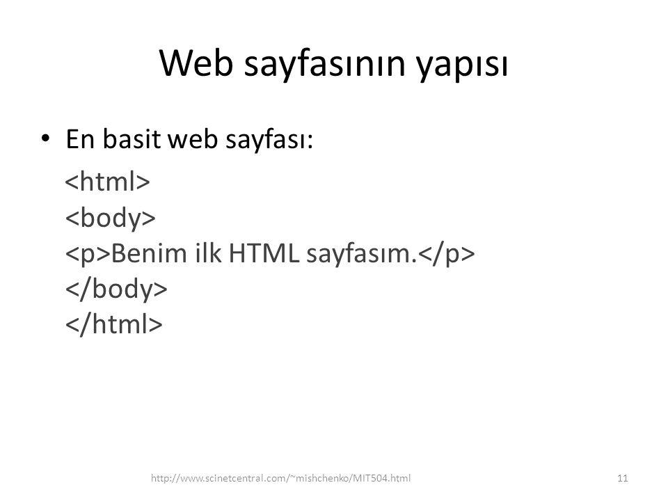 Web sayfasının yapısı En basit web sayfası: