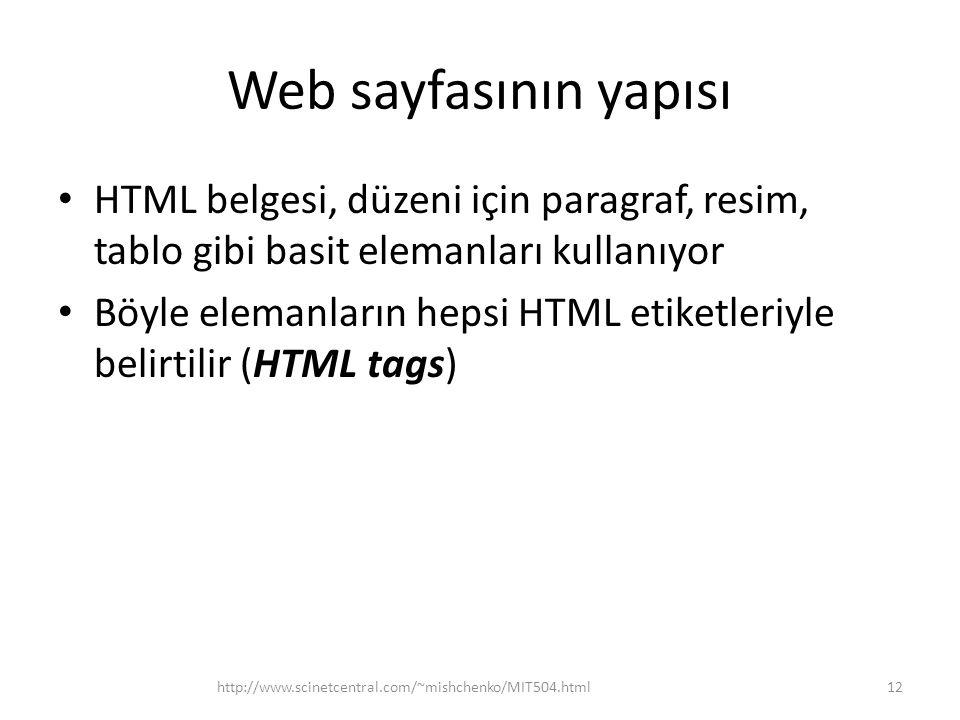 Web sayfasının yapısı HTML belgesi, düzeni için paragraf, resim, tablo gibi basit elemanları kullanıyor.