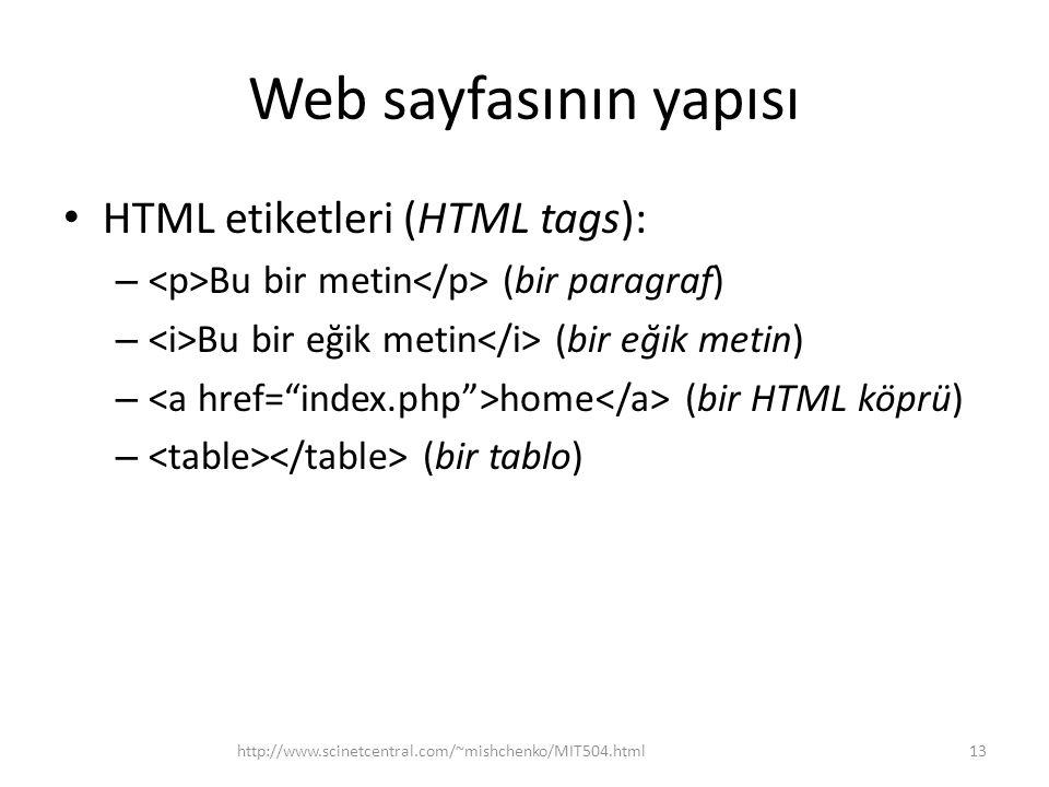 Web sayfasının yapısı HTML etiketleri (HTML tags):