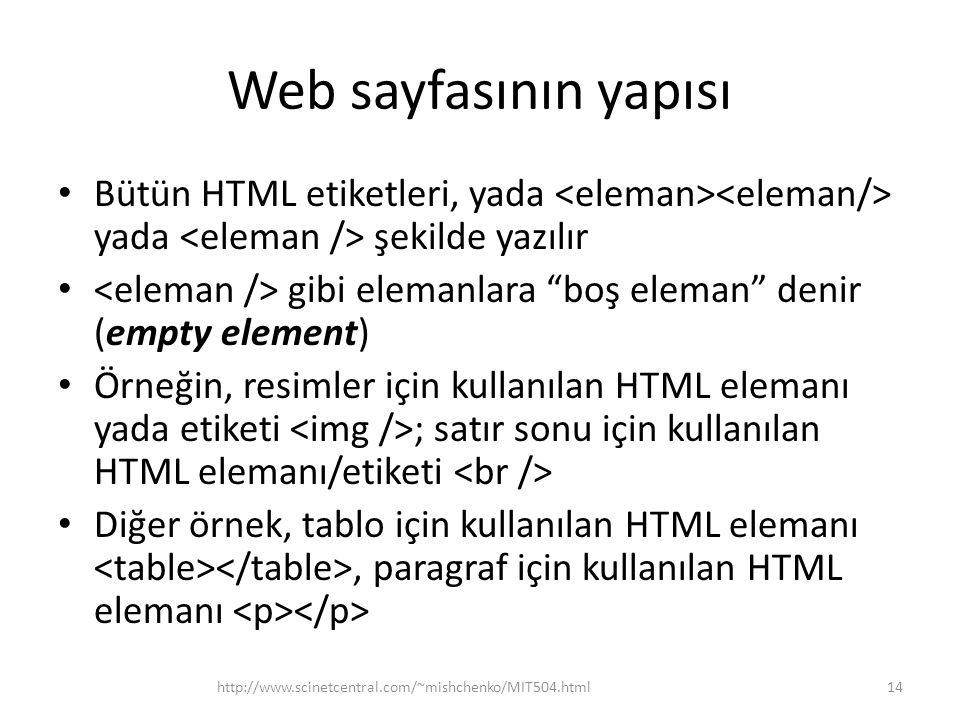 Web sayfasının yapısı Bütün HTML etiketleri, yada <eleman><eleman/> yada <eleman /> şekilde yazılır.