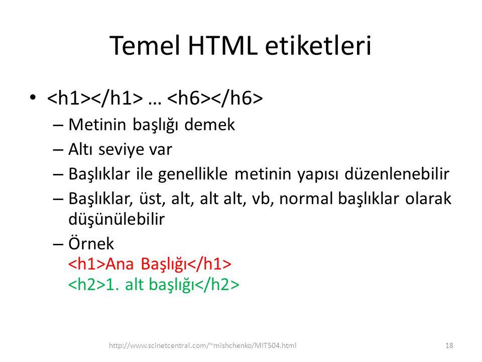 Temel HTML etiketleri <h1></h1> … <h6></h6>