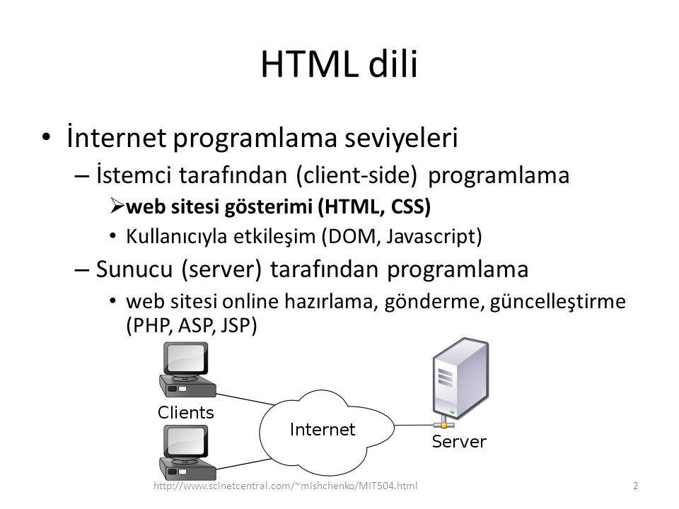 HTML dili İnternet programlama seviyeleri