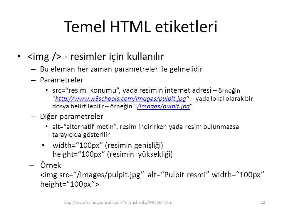 Temel HTML etiketleri <img /> - resimler için kullanılır