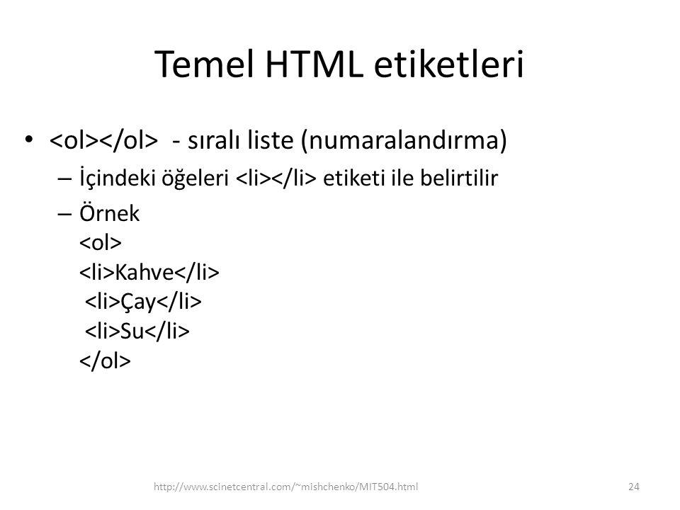 Temel HTML etiketleri <ol></ol> - sıralı liste (numaralandırma) İçindeki öğeleri <li></li> etiketi ile belirtilir.