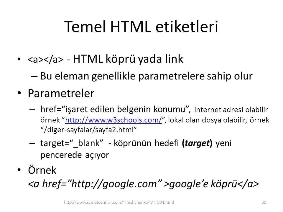 Temel HTML etiketleri Parametreler