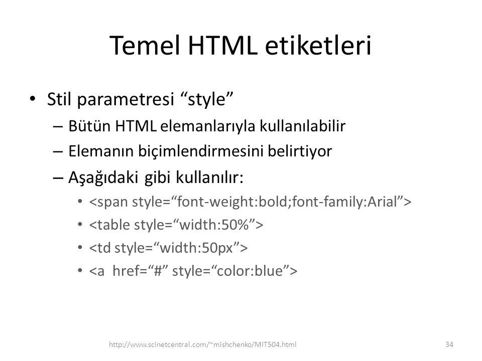 Temel HTML etiketleri Stil parametresi style