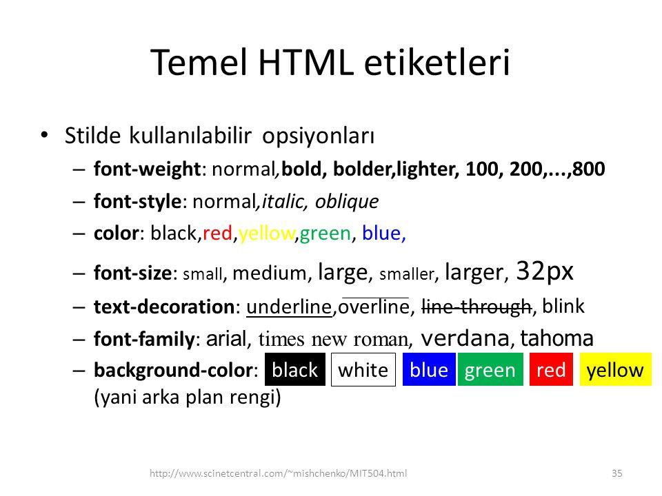 Temel HTML etiketleri Stilde kullanılabilir opsiyonları
