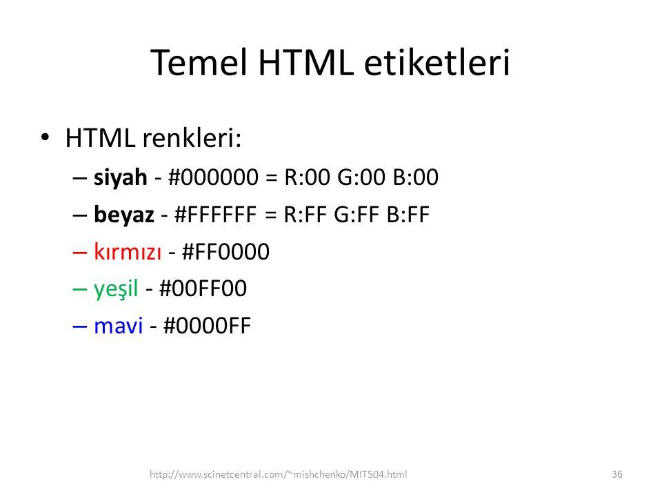 Temel HTML etiketleri HTML renkleri: siyah - #000000 = R:00 G:00 B:00