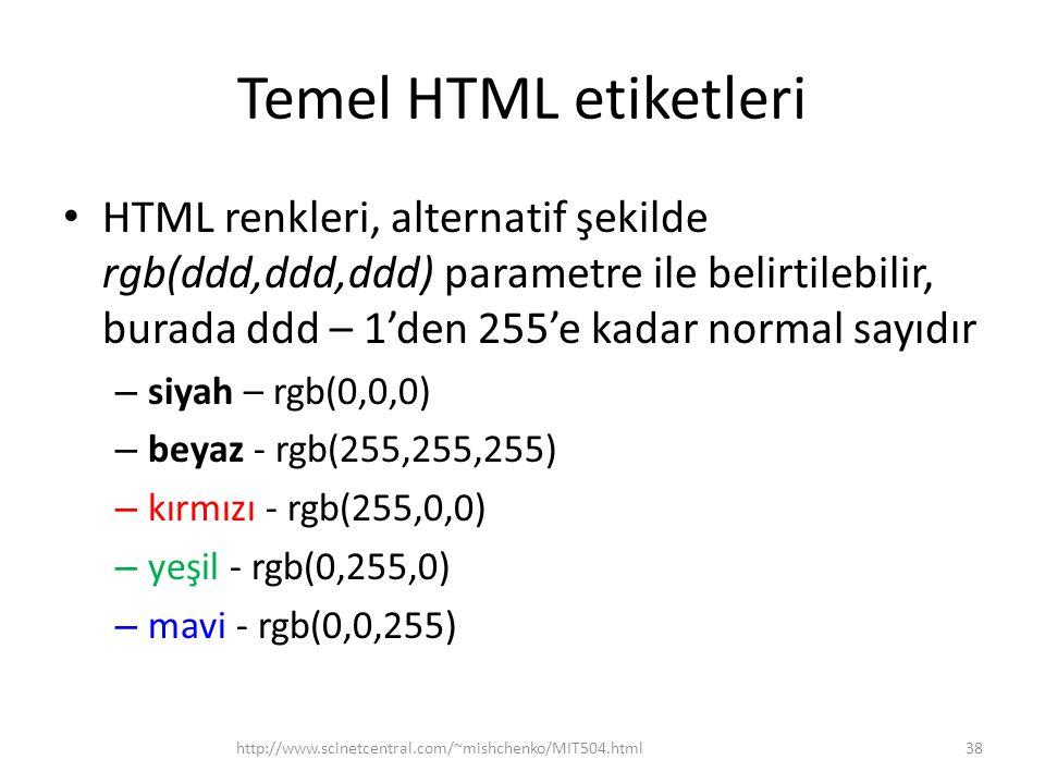 Temel HTML etiketleri HTML renkleri, alternatif şekilde rgb(ddd,ddd,ddd) parametre ile belirtilebilir, burada ddd – 1'den 255'e kadar normal sayıdır.