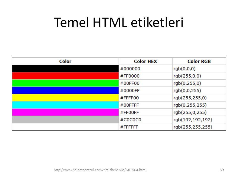 Temel HTML etiketleri http://www.scinetcentral.com/~mishchenko/MIT504.html