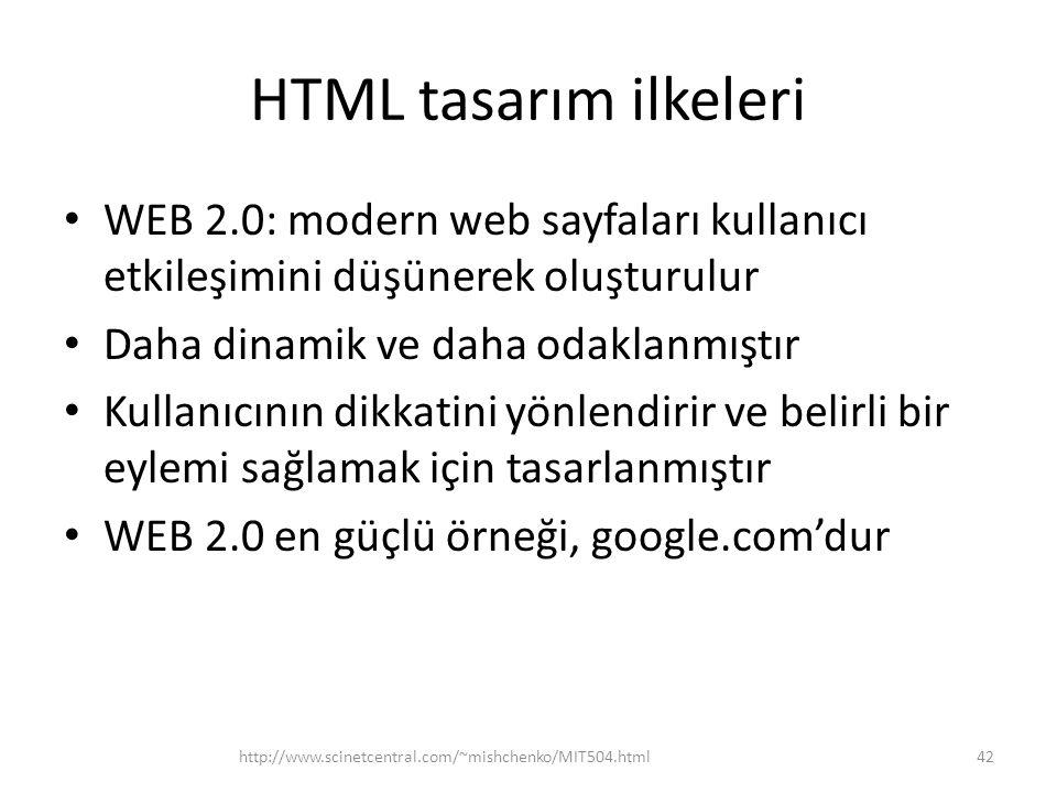 HTML tasarım ilkeleri WEB 2.0: modern web sayfaları kullanıcı etkileşimini düşünerek oluşturulur. Daha dinamik ve daha odaklanmıştır.