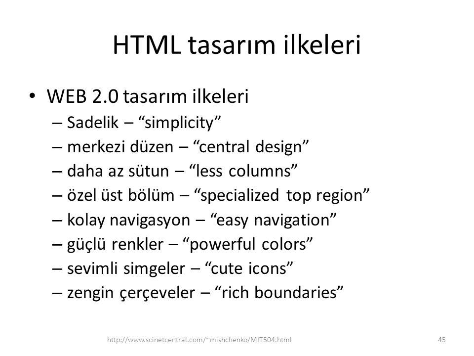 HTML tasarım ilkeleri WEB 2.0 tasarım ilkeleri Sadelik – simplicity