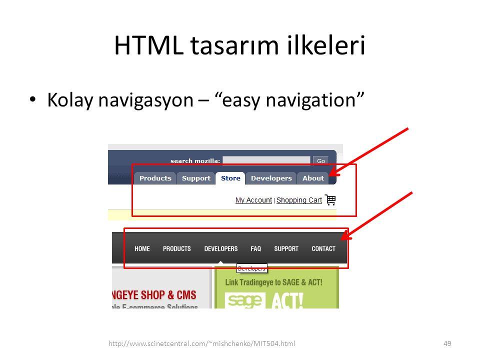 HTML tasarım ilkeleri Kolay navigasyon – easy navigation