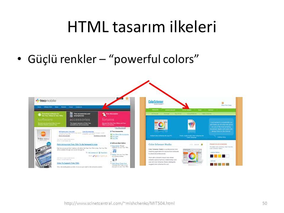 HTML tasarım ilkeleri Güçlü renkler – powerful colors