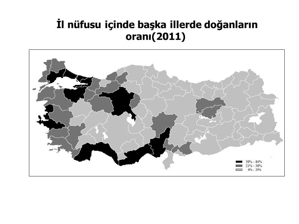 İl nüfusu içinde başka illerde doğanların oranı(2011)