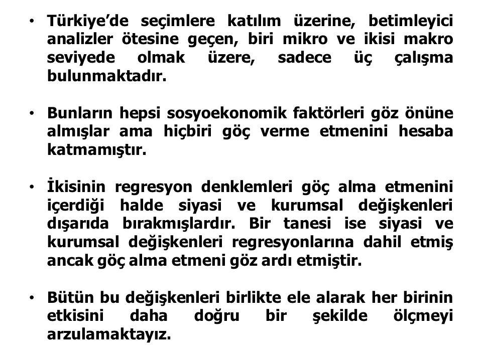 Türkiye'de seçimlere katılım üzerine, betimleyici analizler ötesine geçen, biri mikro ve ikisi makro seviyede olmak üzere, sadece üç çalışma bulunmaktadır.