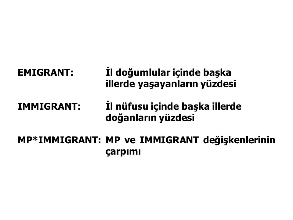 EMIGRANT: İl doğumlular içinde başka illerde yaşayanların yüzdesi IMMIGRANT: İl nüfusu içinde başka illerde doğanların yüzdesi MP*IMMIGRANT: MP ve IMMIGRANT değişkenlerinin çarpımı