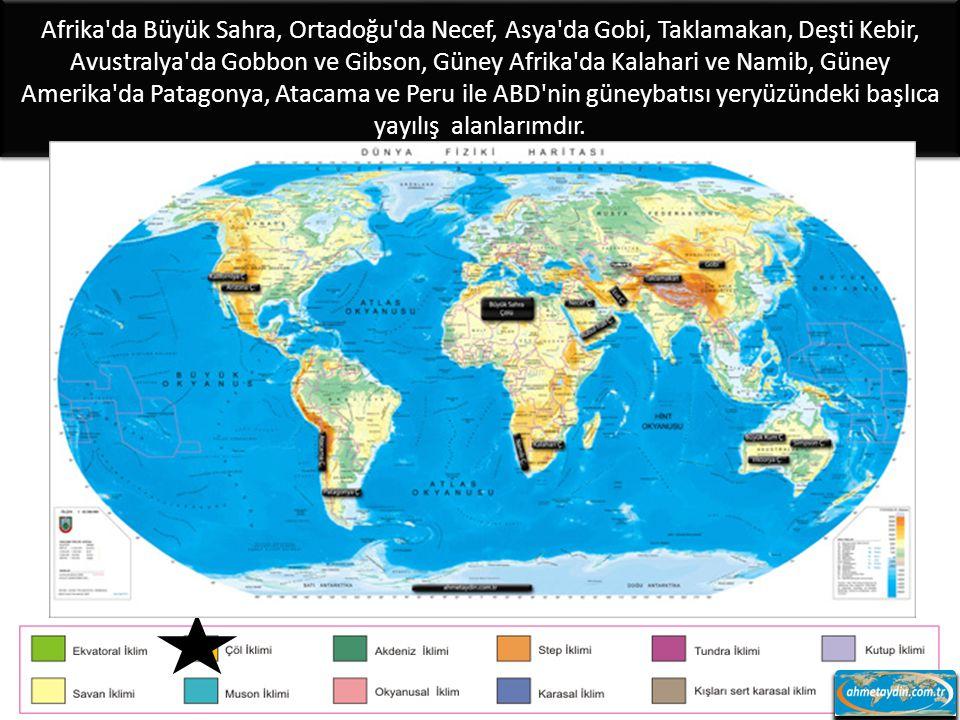 Afrika da Büyük Sahra, Ortadoğu da Necef, Asya da Gobi, Taklamakan, Deşti Kebir, Avustralya da Gobbon ve Gibson, Güney Afrika da Kalahari ve Namib, Güney Amerika da Patagonya, Atacama ve Peru ile ABD nin güneybatısı yeryüzündeki başlıca yayılış alanlarımdır.