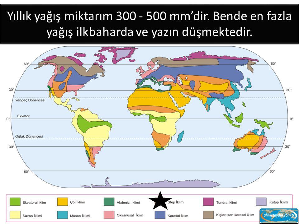 Yıllık yağış miktarım 300 - 500 mm'dir
