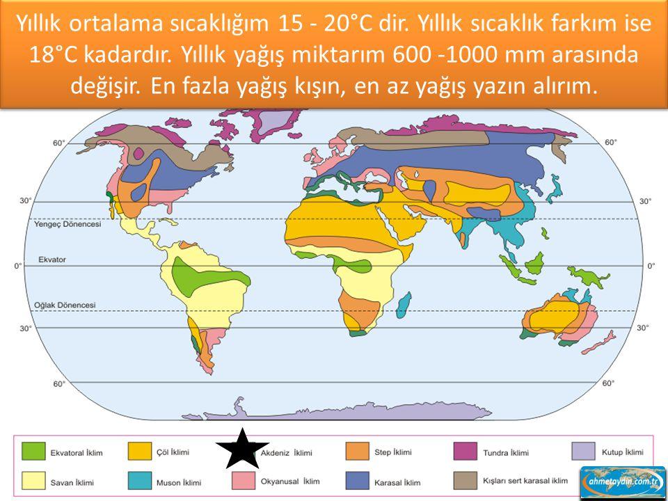 Yıllık ortalama sıcaklığım 15 - 20°C dir