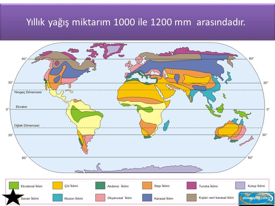 Yıllık yağış miktarım 1000 ile 1200 mm arasındadır.
