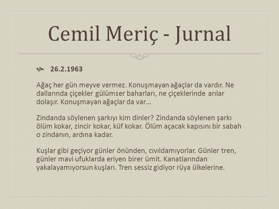 Cemil Meriç - Jurnal 26.2.1963.