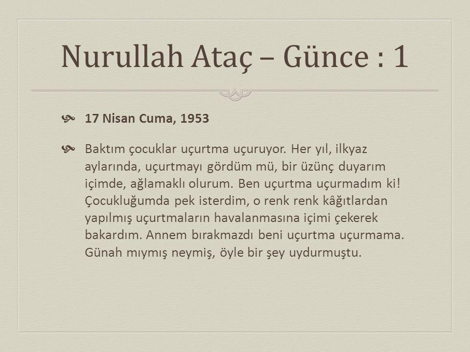 Nurullah Ataç – Günce : 1 17 Nisan Cuma, 1953