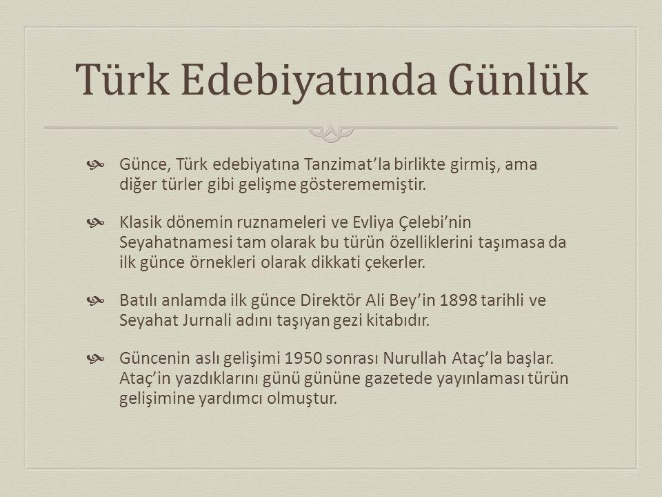 Türk Edebiyatında Günlük