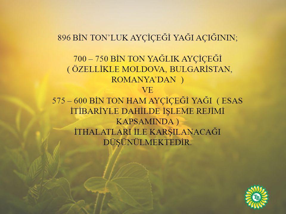 896 BİN TON'LUK AYÇİÇEĞİ YAĞI AÇIĞININ;