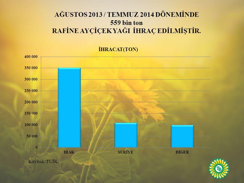 AĞUSTOS 2013 / TEMMUZ 2014 DÖNEMİNDE 559 bin ton
