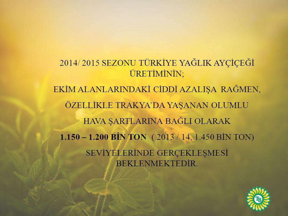 2014/ 2015 SEZONU TÜRKİYE YAĞLIK AYÇİÇEĞİ ÜRETİMİNİN;
