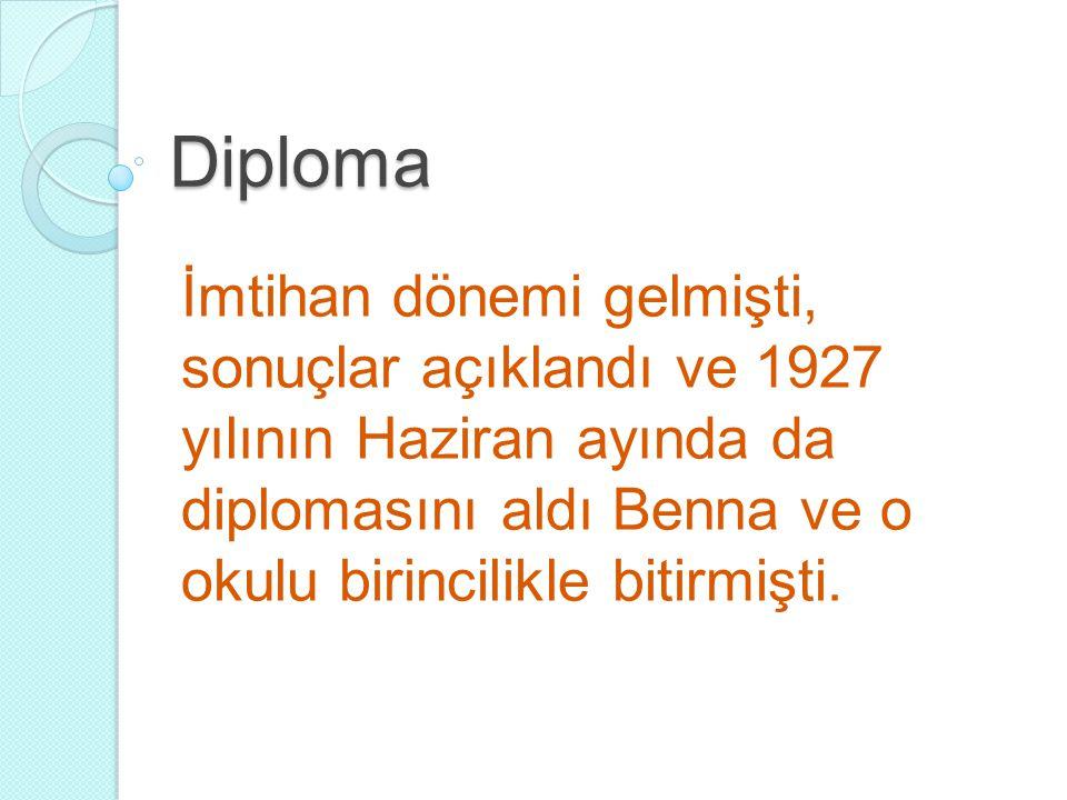 Diploma İmtihan dönemi gelmişti, sonuçlar açıklandı ve 1927 yılının Haziran ayında da diplomasını aldı Benna ve o okulu birincilikle bitirmişti.