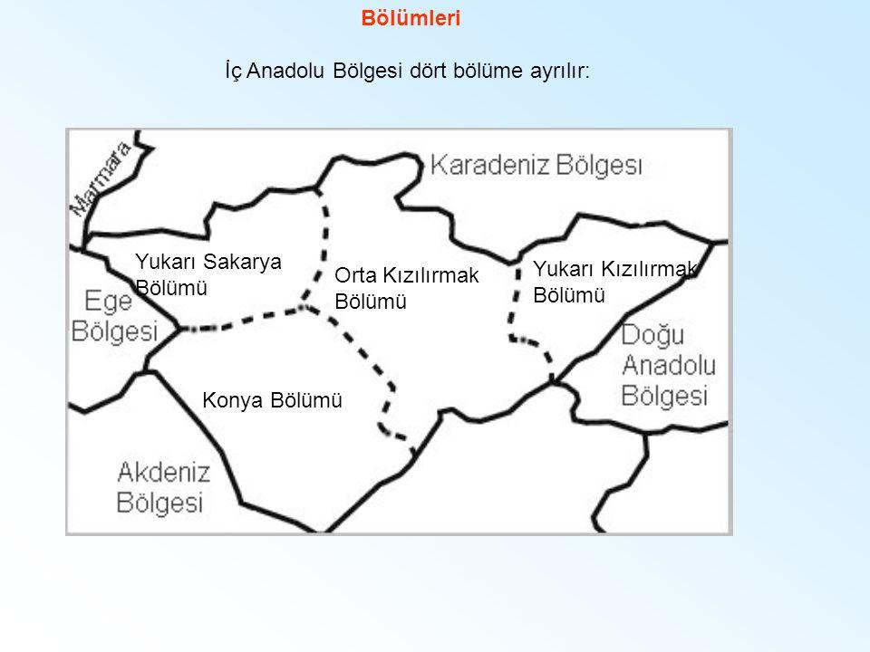 İç Anadolu Bölgesi dört bölüme ayrılır: