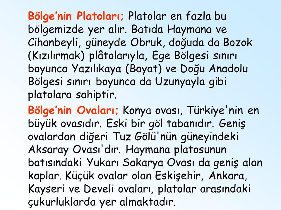 Bölge'nin Platoları; Platolar en fazla bu bölgemizde yer alır