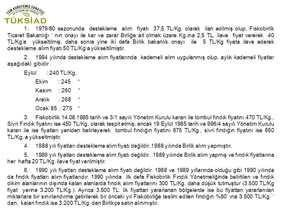 1. 1979/80 sezonunda destekleme alım fiyatı 37,5 TL/Kg