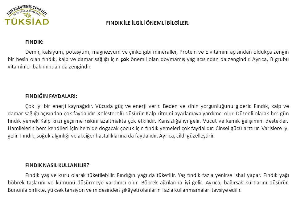 FINDIK İLE İLGİLİ ÖNEMLİ BİLGİLER.