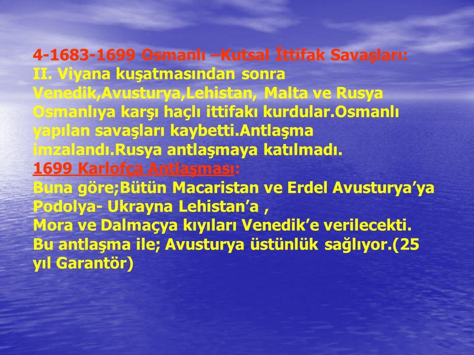 4-1683-1699 Osmanlı –Kutsal İttifak Savaşları: