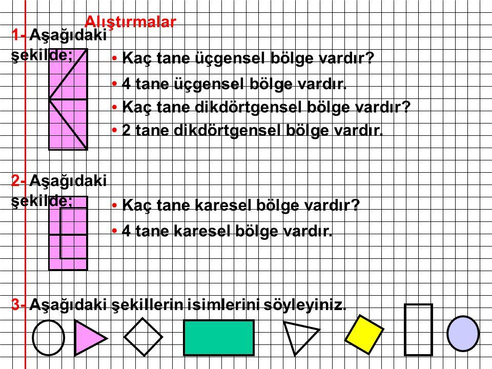 Alıştırmalar 1- Aşağıdaki şekilde; • Kaç tane üçgensel bölge vardır • 4 tane üçgensel bölge vardır.