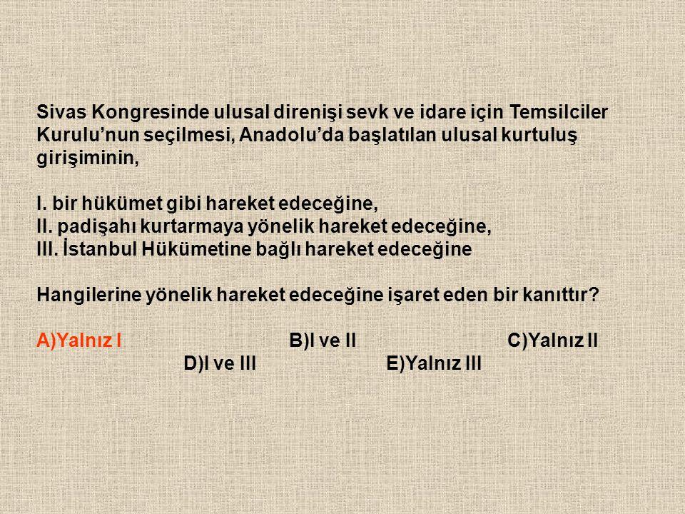 Sivas Kongresinde ulusal direnişi sevk ve idare için Temsilciler Kurulu'nun seçilmesi, Anadolu'da başlatılan ulusal kurtuluş girişiminin,